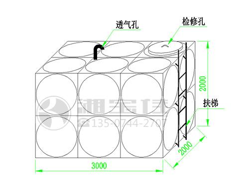 12吨不锈钢水箱尺寸示意图