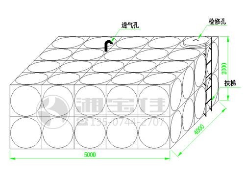 40吨不锈钢水箱尺寸示意图